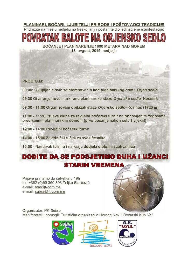 Bocanje i planinarenje na Sedlu, program
