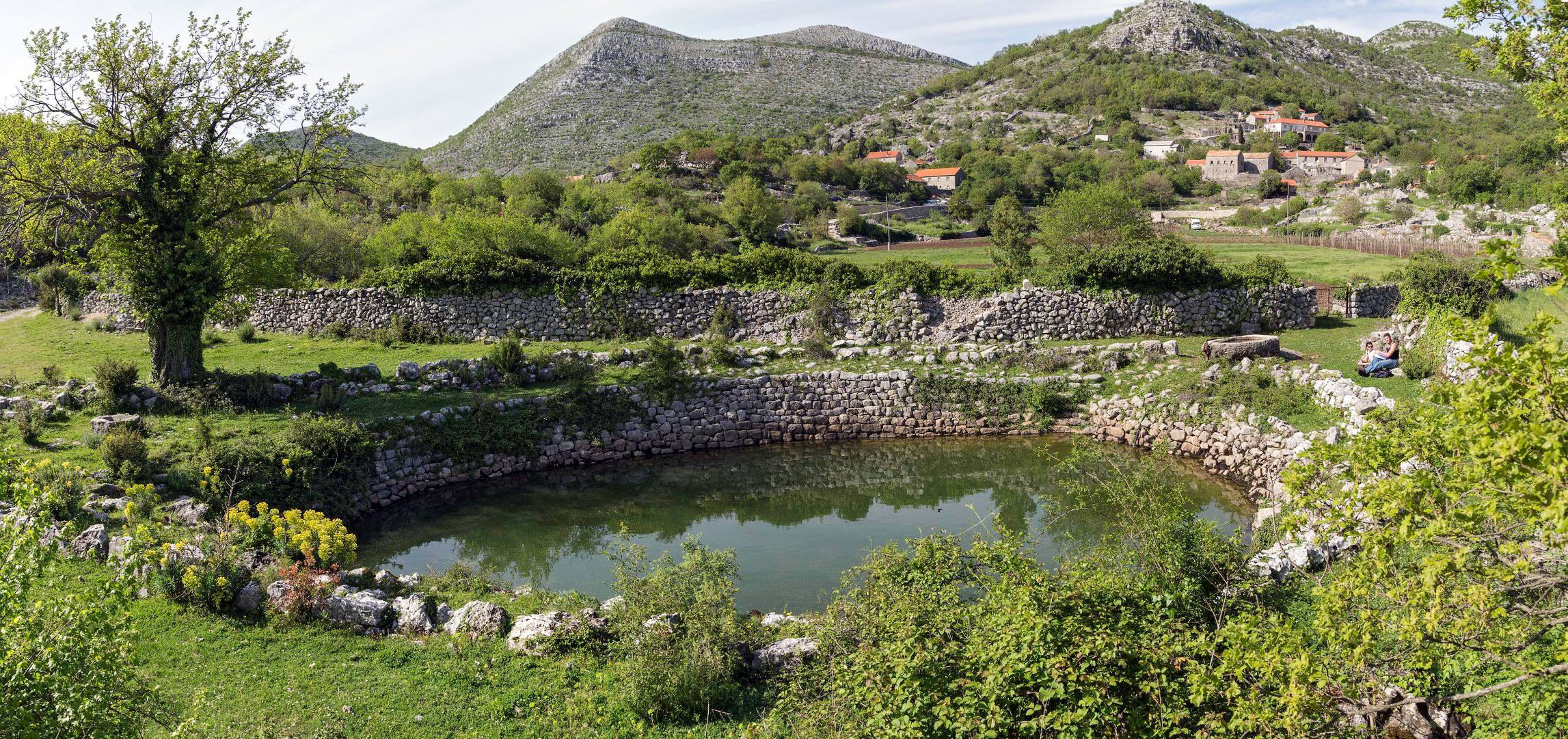 Dry stone pond in one of Konavle villages, 17m in diameter